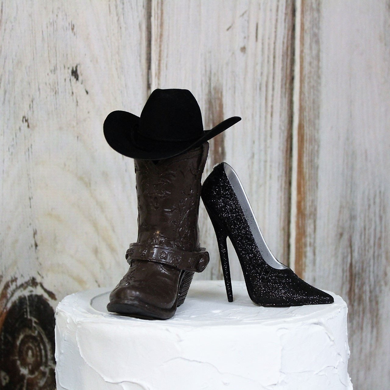 Wedding Cake Topper Stiletto and Boot Cake Topper Western