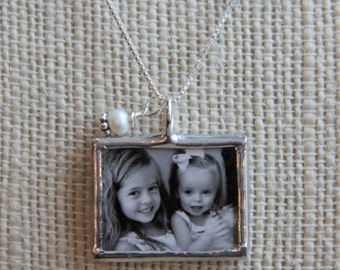 Custom Photo necklace with sterling charm