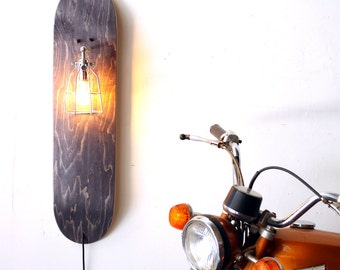 Repurposed Skateboard Lamp- Skate Sconce- Grey Wood Sconce- Industrial Cage Light- Upcycled Wall Lamp- Skateboard Decor Light- FREE SHIPPING