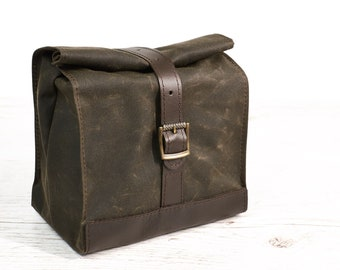 Dark olive lunch bag. Lunch box. School lunch bag. Waxed canvas and  leather lunch bag. Olive/brown lunch bag. Vintage style lunch bag.