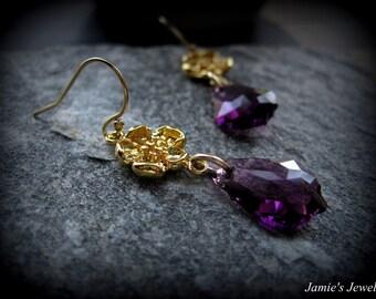 Gold Flower Amethyst Earrings - Gold Flower Earrings -  February Birthstone Earrings - February Birthday Gift - Flower Jewelry