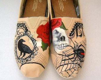 Bride's Love Story Shoes Wedding Flats Bride's Shoes Goth Wedding Shoes Skulls Roses Wedding TOMS Folk Art Painting Custom Wedding Shoes