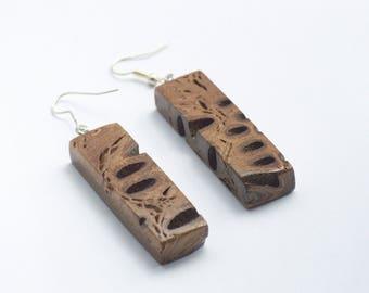 Rustic earrings - dangle earrings, natural earrings, wooden earrings, geometric earrings, australian jewellery, gift for her, boho earrings
