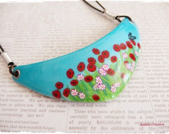 Made entirely of polymer clay poppies bib necklace. Poppy necklace