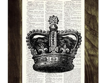 Black King Crown Print -Upcycled Dictionary page print- Unique gift upcycled TVH064