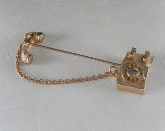 Telephone Stick Pin, Vintage Pin, Avon Pin, Gift for Her