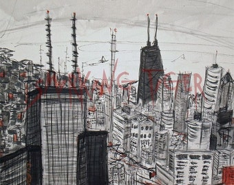 Chicago Art Print 2: Chicago Skyline featuring The Sears Tower and The Hancock Building, 11X14