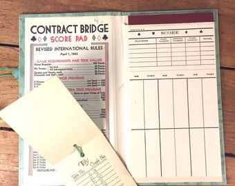 Bridge Score Card, Tally Sheet Set