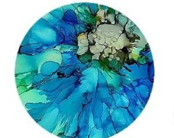 pretty cabochon 20mm abstract green/blue watercolor effect
