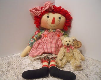 CHRISTMAS, Raggedy Doll, Seasonal Annie, Christmas Annie, Bear