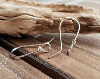 Front Face Loop Ear Wires, Sterling Silver Wild West, Handmade Earring Findings