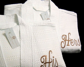 Personalized cotton anniversary gift Cotton waffle robe Monogram robes his and hers Monogrammed bathrobes 1403LDYS jfyBride Set of 2 Robes