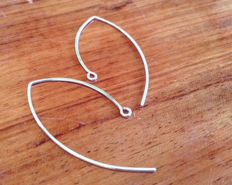 sterling silver large ear wires, long leaf earwires, Elfin silver ear hooks, long silver ear wires, earring components, silver findings, DIY