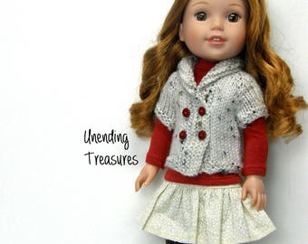 14 inch doll clothes AG doll clothes shawl sweater made to fit like Wellie Wishers doll clothes