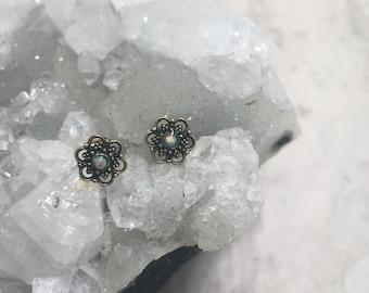 Brass galaxy mandala geometric stud earrings