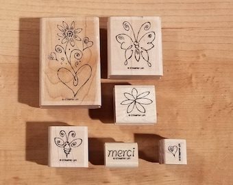 Stampin' Up Retired Set - Merci - Rubber Stamp Set of 6 - RS-007