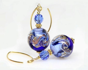 Cobalt, Blue, Gold, Venetian Murano Lampwork Glass Earrings, Artisan, Dangle, Drop Earrings