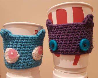 Cute handmade coffee cosy, cozey, cup sleeve