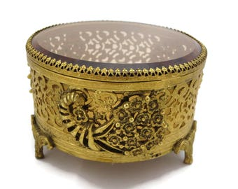 Vintage Glass Casket - Beveled Glass Ormolu Jewelry Box, Round Gold Velvet Lined Interior, Display Case