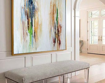 ORIGINAL ABSTRACT Painting, Large Original Painting, Gold Abstract Art, Acrylic Painting on Canvas, XL large Canvas Art. Custom Painting