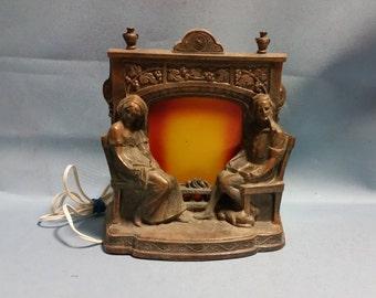 1920's Cast Couples Light Up Fireplace Scene Lamp