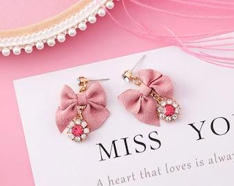 cute pink ribbon bow stud earrings with rhinestone