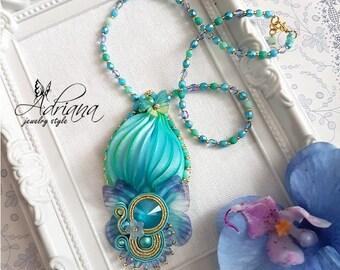 Butterfly Swarovski Shibori Pendant Necklace In Pastel Colours, Silk Shibori Necklace, Shibori Jewelry