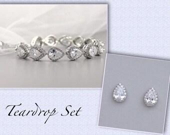 Bridal Jewelry Set, Wedding Jewelry Set, Bridal Earrings & Bracelet Set, Teardrop Jewelry Set, Silver Jewelry Set, TAMARA S4
