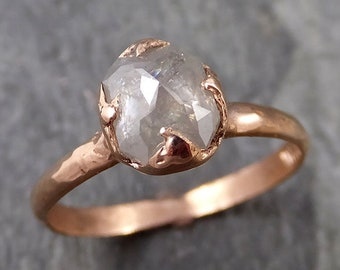 Faceted Fancy cut white Diamond Solitaire Engagement 14k Rose Gold Wedding Ring byAngeline 1091