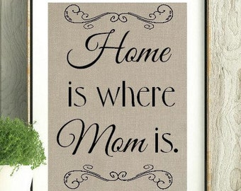 Mothers Day, Home is where Mom is, Mothers Day Gift, Gift for Mom, Mothers day quote, Mothers day Print, Wall Art, Mom Art, Mom Print,