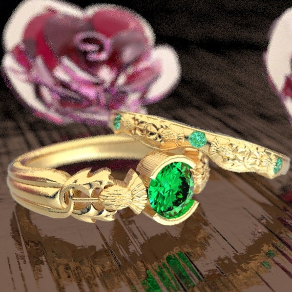 Thistle Engagement Ring Set, 10K 14K or 18K Gold & Emerald, Scottish Solitare, Floral Wedding, Handcrafted Rings, Platinum or Palladium 5062