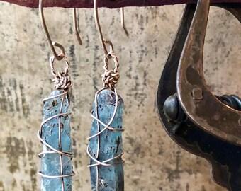 Kyanite Earrings / Blue Stone Earrings