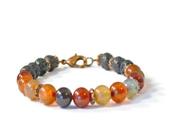 Essential Oil Diffuser Bracelet, Lava Rock & Agate Gemstones, Aromatherapy Jewelry