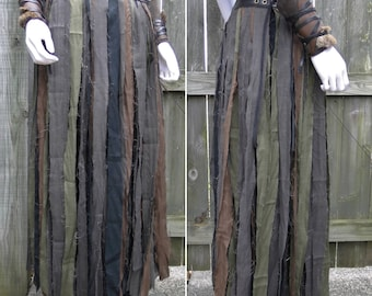 Linen Wrap Skirt, Full Length Tribal Fantasy Renaissance Style - Women's Adjustable Fit, Choose Your Size