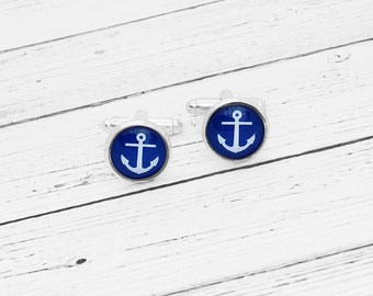 Blue Anchor Cufflinks Cuff links Nautical Silver Beach Wedding Groom Groomsman Blue and White