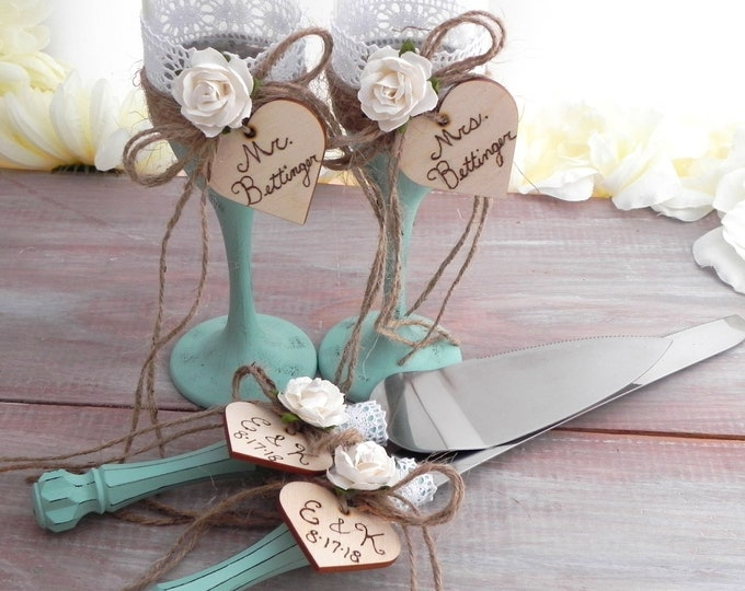 Rustic Chic Wedding Glasses and Cake Server Set Mint and Ivory Flower Personalized Wood Hearts Bridal Shower Gift Wedding Gift
