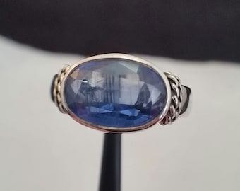 Kyanite ring in sterling silver - free shipping - turningleafjewelryco - one of a kind ring - graduation gift - bat mitzvah gift