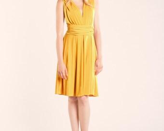 Short yellow dress, mustard yellow infinity dress, yellow dress, mustard bridesmaid dress, yellow prom dress, infinity dress