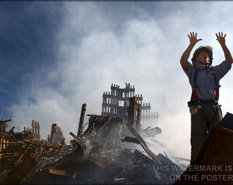 Poster, Many Sizes Available; New York City Fireman P2 Calls For 10 More Rescue Workers To Make Their Way Into The Rubble Of The World Trade