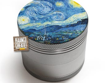 4 Part Herb Grinder with Fine Art Print [Starry Night by Van Gogh]