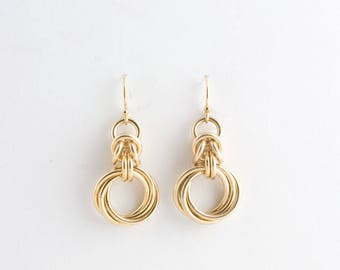 14K Gold Fill Byzantine Love Knots Chainmaille Earrings