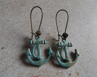 Nautical Spring / Summer Trends Verdigris Patina Anchor Dangle Earrings