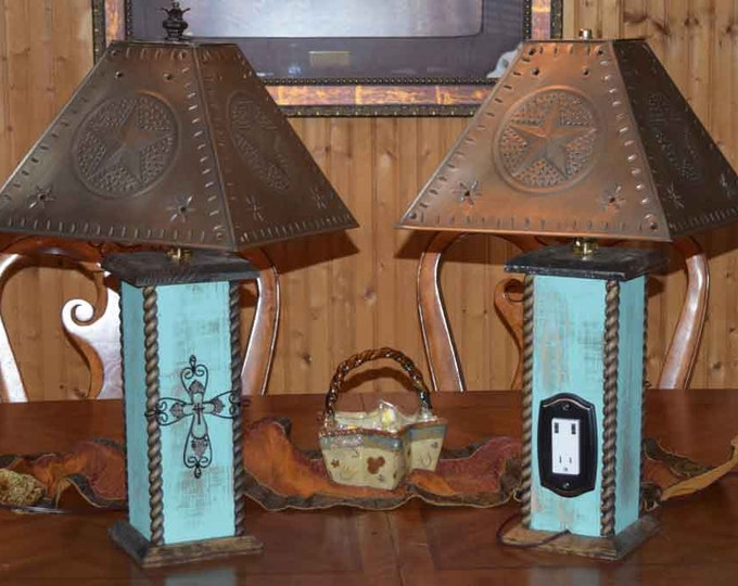 Western lamps jdb rustic 24 rustic lamps western lamps western cross table lamp with usb power center aloadofball Gallery