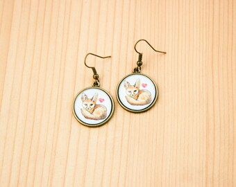 Fennec fox round earrings glass picture art present gift idea christmas birthday heart love