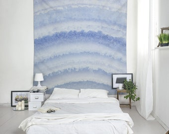 Blue lace agate wall tapestry, Wall decor fabric wall hanging, Macro photography, Abstract wall art, Large wall decor, Gift for him. MW111