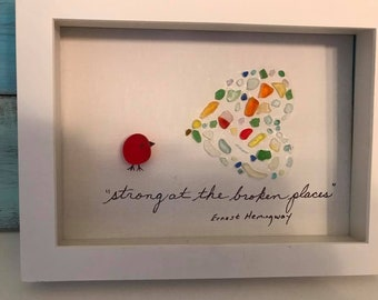 """Sea Glass Art """"Strong at the Broken Places"""" Framed Shadow Box Heart-Shaped Ernest Hemingway"""