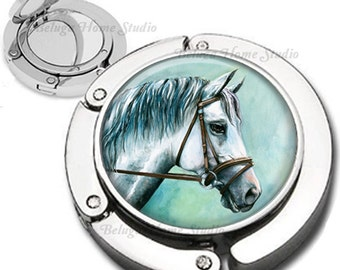 White Horse Foldable Purse Hook Bag Hanger With Double Sided Compact Mirror