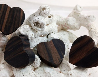 "Pair Dark Sono Wood Heart Plugs Earrings 10mm (00G) 12mm (1/2"") 14mm (9/16"") 16mm (5/8"") 18mm (11/16"") 25mm 1"" 28mm (1 1/16"") 32mm (1 1/4"")"