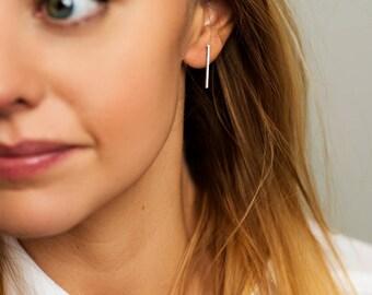 Bar Stud Earrings - Simple Earrings - Minimal Bar Studs - Sterling silver bar earrings