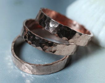 Hand hammered textured rose gold tone band ring, one piece (item ID RGN)